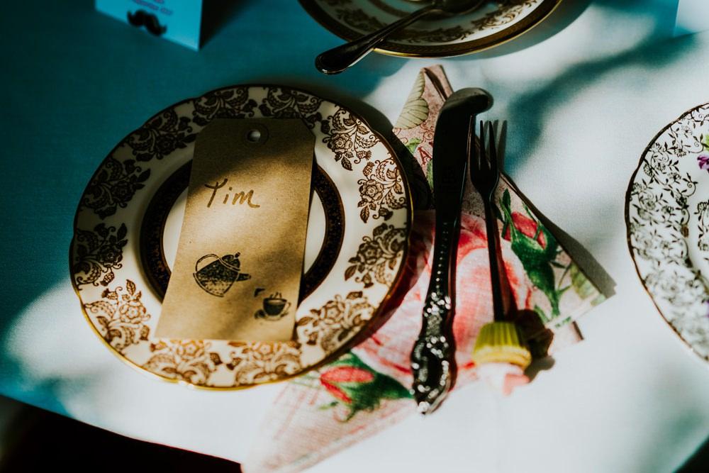 Place Name Setting Vintage China Walcot Hall Wedding Shropshire Bridgwood Wedding Photography