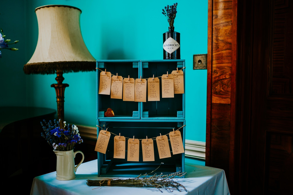 Painted Wooden Crate Luggage Tag Table Plan Seating Chart Walcot Hall Wedding Shropshire Bridgwood Wedding Photography