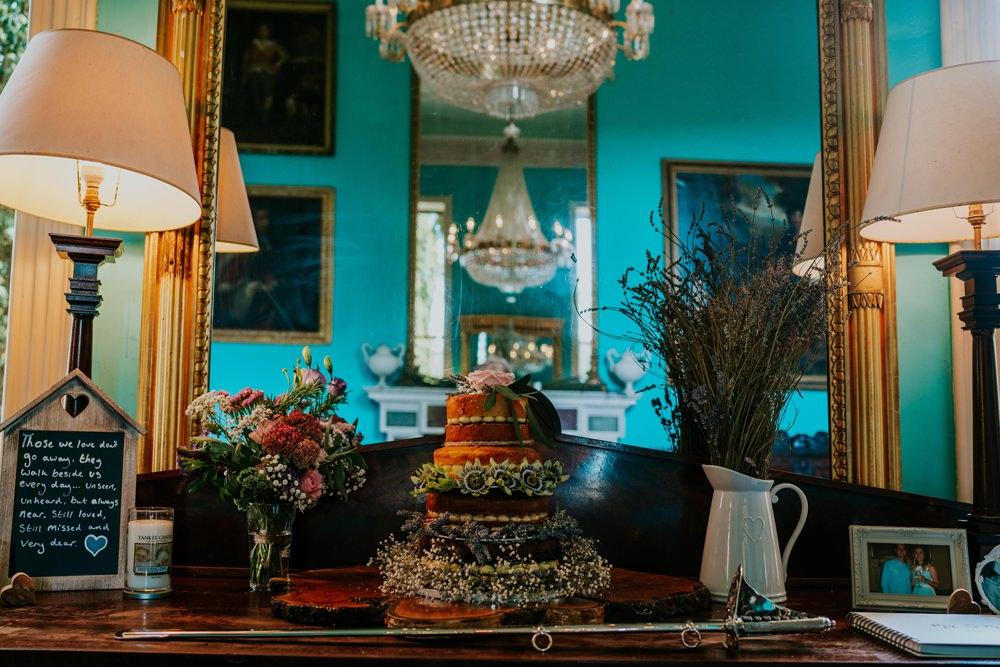 Naked Cake Sponge Flowers Table Walcot Hall Wedding Shropshire Bridgwood Wedding Photography