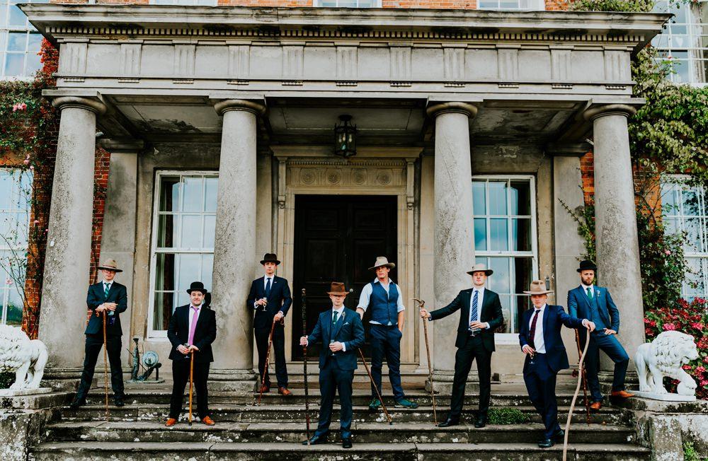 Groom Groomsmen Suits Hay Sticks Walcot Hall Wedding Shropshire Bridgwood Wedding Photography