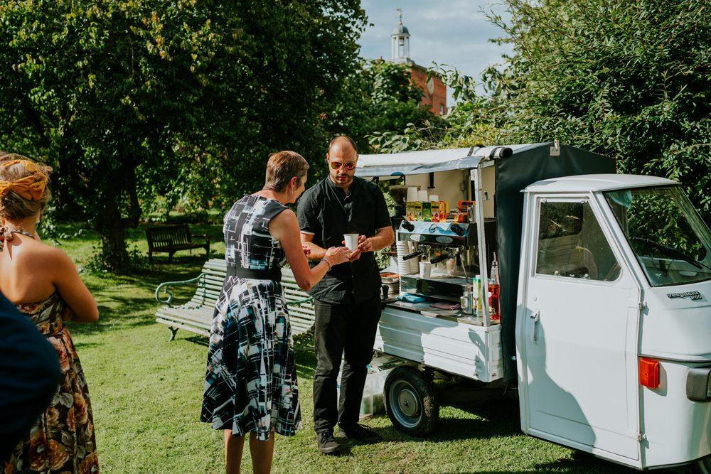 Coffee Truck Van Walcot Hall Wedding Shropshire Bridgwood Wedding Photography