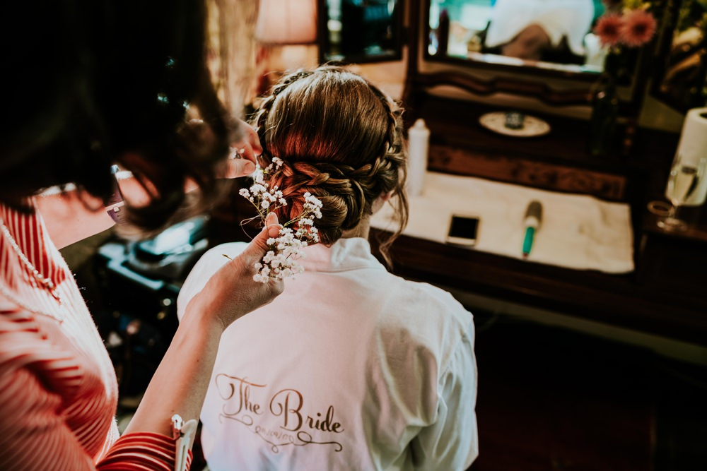 Hair Bride Bridal Plait Braid Halo Flowers Walcot Hall Wedding Shropshire Bridgwood Wedding Photography