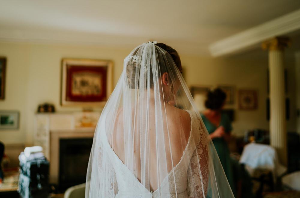 Kula Tsurdiu Lace Dress Gown Sleeves Bride Bridal Veil Walcot Hall Wedding Shropshire Bridgwood Wedding Photography