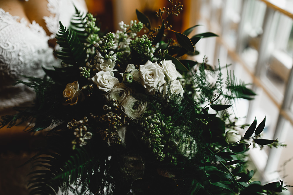 Bouquet Flowers Bride Bridal Greenery Foliage Winter White Rose West Mill Wedding HBA Photography