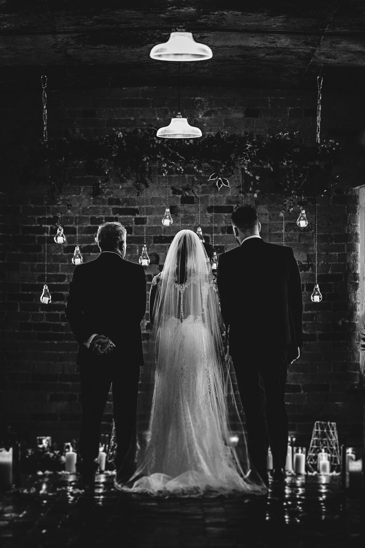 Lighting Edison Greenery Ceremony Candles West Mill Wedding HBA Photography
