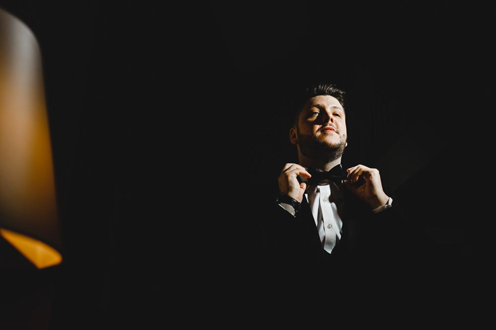 Groom Groomsmen Tuxedo Suit Bow Tie West Mill Wedding HBA Photography