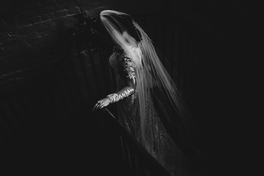 Lace Dress Gown Bride Bridal Veil Train Sleeves Bow Back West Mill Wedding HBA Photography