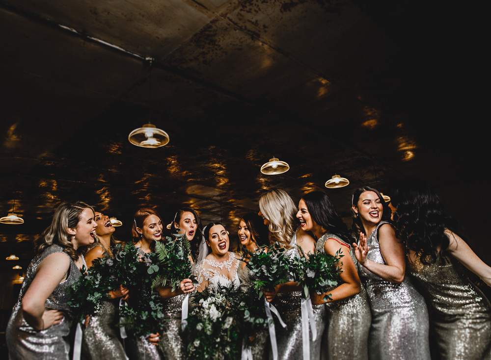 West mill wedding glamorous prohibition 1920s style whimsical west mill wedding hba photography silver sequin bridesmaid dresses foliage greenery bouquets junglespirit Image collections