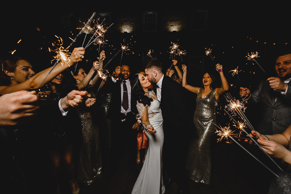 Sparklers Exit Bride Groom Moment West Mill Wedding HBA Photography
