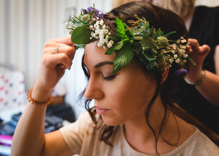 Flower Crown Bride Bridal Wick Bottom Barn Wiltshire Wedding Heline Bekker Photography