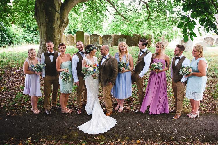Mismatched Pastel Bridesmaid Dresses Wick Bottom Barn Wiltshire Wedding Heline Bekker Photography