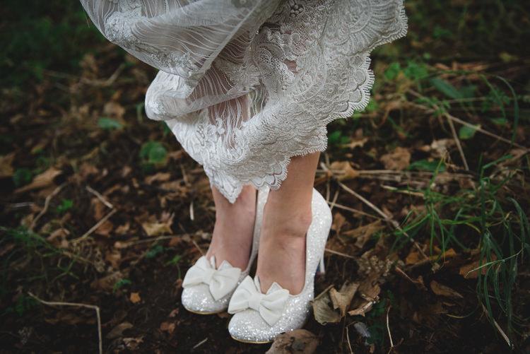 Glitter Bow Shoes Bride Bridal Wick Bottom Barn Wiltshire Wedding Heline Bekker Photography