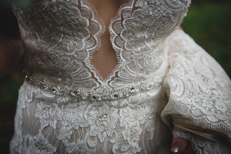 Sottero and Midgley Lace Dress Gown Bride Bridal Train Straps Belt Wick Bottom Barn Wiltshire Wedding Heline Bekker Photography