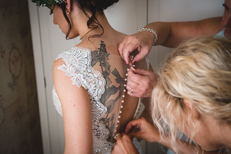 Illusion Back Dress Gown Button Tattoo Bride Bridal Wick Bottom Barn Wiltshire Wedding Heline Bekker Photography