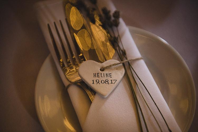 Ceramic Heart Place Name Favout Wick Bottom Barn Wiltshire Wedding Heline Bekker Photography