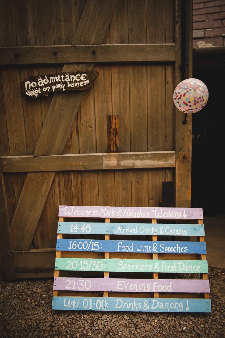 Wooden Pallet Sign Painted Pastel Wick Bottom Barn Wiltshire Wedding Heline Bekker Photography