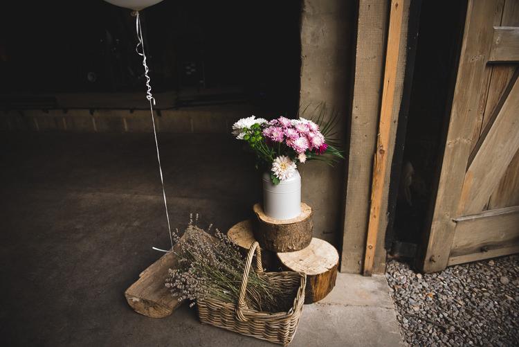 Log Stump Flowers Decor Wick Bottom Barn Wiltshire Wedding Heline Bekker Photography