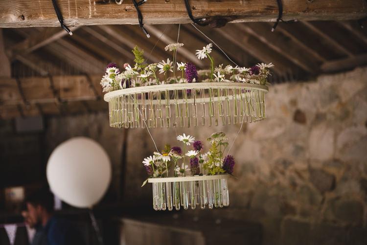 Hanging Flowers Test Tubes Wick Bottom Barn Wiltshire Wedding Heline Bekker Photography