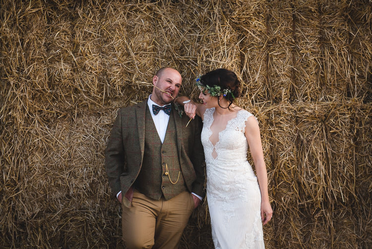 Bow Tie Groom Tweed Waistcoat Suit Brown Groomsmen Wick Bottom Barn Wiltshire Wedding Heline Bekker Photography