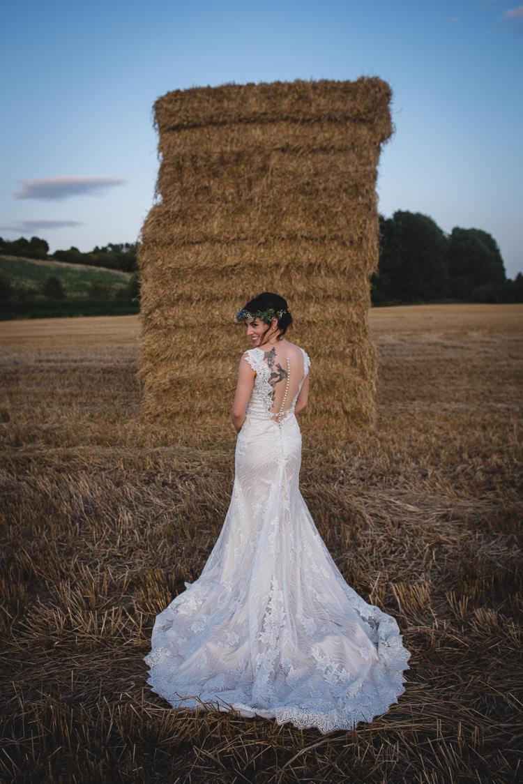 Illusion Back Dress Gown Button Tattoo Bride Bridal Train Wick Bottom Barn Wiltshire Wedding Heline Bekker Photography