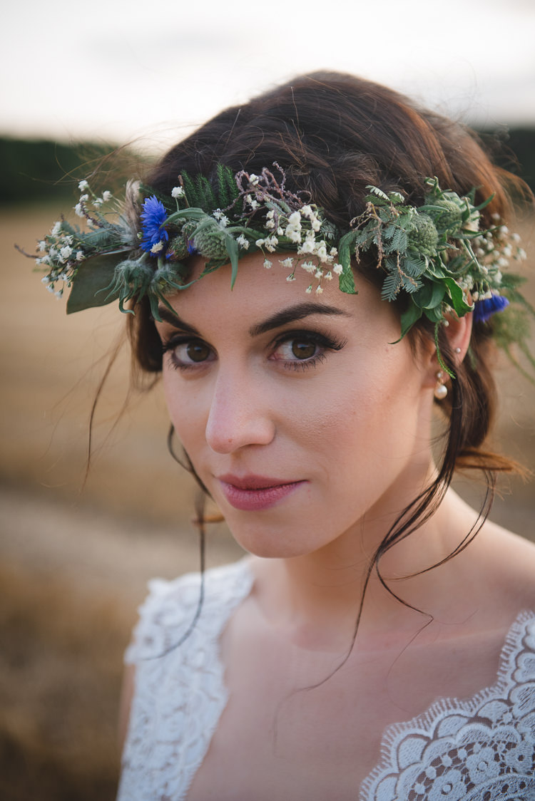 Bride Bridal Flower Crown Make Up Wick Bottom Barn Wiltshire Wedding Heline Bekker Photography