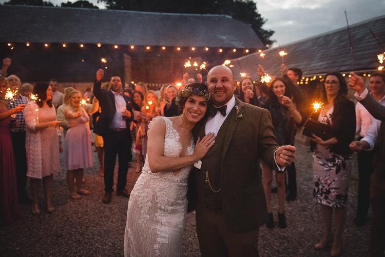 Wick Bottom Barn Wiltshire Wedding Heline Bekker Photography Sparkler Send Off Exit