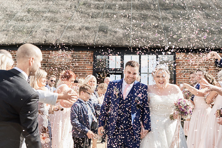 Bride Bridal A Line Sleeved Dress Gown Lace Off the Shoulder French Connection Groom Blue Waistcoat Three Piece Pink Tie Confetti Wood Farm Barn Wedding Suffolk Faye Amare Photography