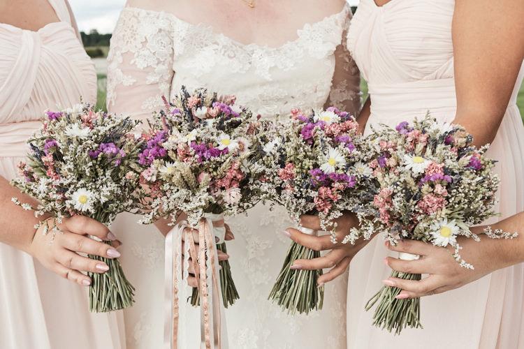 Bride Bridesmaids Pink Dusky Blush Dried Flower Bouquet Meadow Wildflower Ribbons Wood Farm Barn Wedding Suffolk Faye Amare Photography
