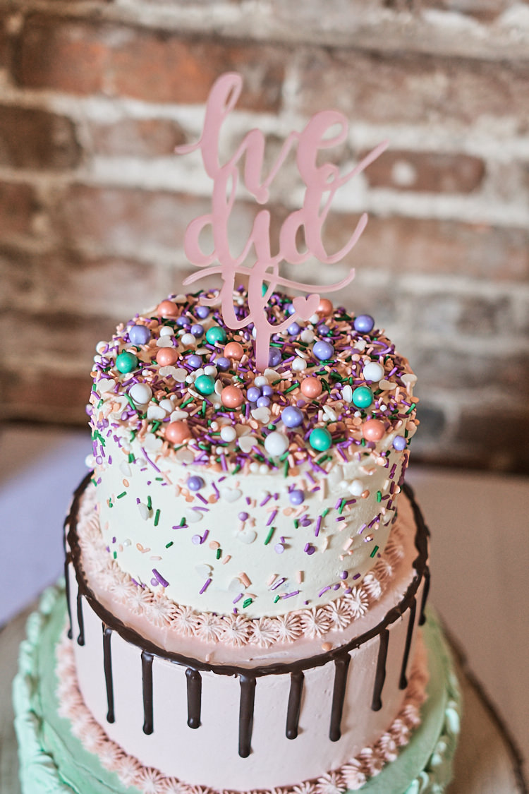 Tiered Cake Sprinkles Drip Buttercream Laser Cut Topper Wood Farm Barn Wedding Suffolk Faye Amare Photography