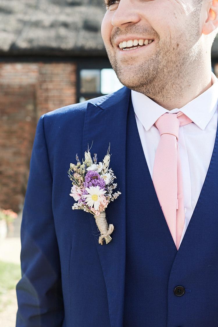 Groom Buttonhole Hessian Twine Meadow Flowers Floral Daisy Wood Farm Barn Wedding Suffolk Faye Amare Photography