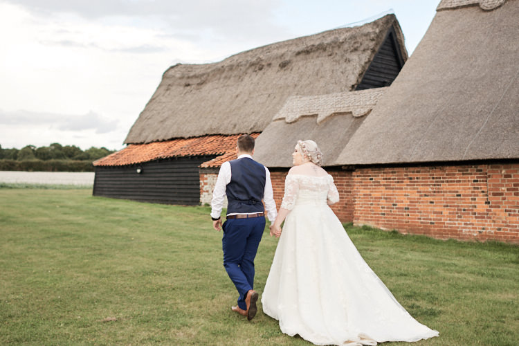 Bride Bridal A Line Sleeved Dress Gown Lace Off the Shoulder Dried Flower Floral Crown French Connection Groom Blue Waistcoat Three Piece Wood Farm Barn Wedding Suffolk Faye Amare Photography