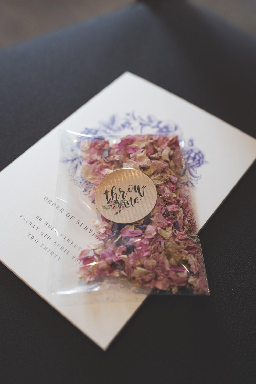 Confetti Dried Real Petals 60 Hope Street Wedding Lisa Howard Photography