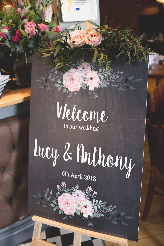 Welcome Sign Modern Calligraphy Pink Rose Easel 60 Hope Street Wedding Lisa Howard Photography