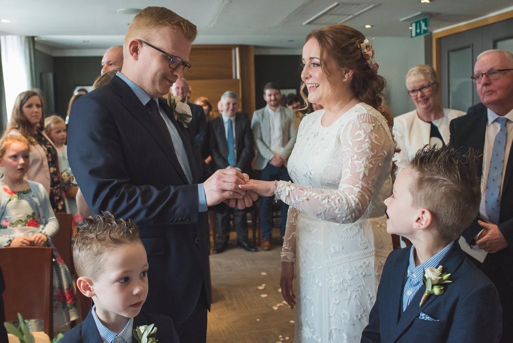 Bride Bridal Lace Long Sleeve Savannah Miller Dress Gown Navy Hugo Boss Groom 60 Hope Street Wedding Lisa Howard Photography