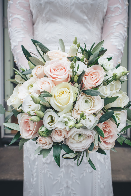 Bride Bridal Bouquet Pink Cream Roses Greenery Foliage 60 Hope Street Wedding Lisa Howard Photography