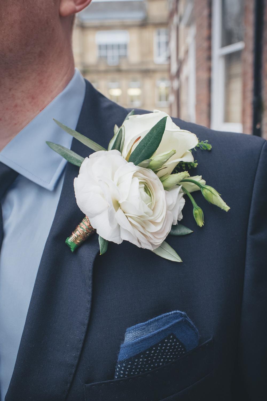 Cream Rose Buttonhole Groom Groomsmen 60 Hope Street Wedding Lisa Howard Photography