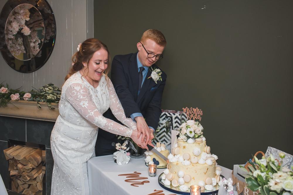 Bride Bridal Lace Long Sleeve Savannah Miller Dress Gown Navy Hugo Boss Groom Cutting Cake 60 Hope Street Wedding Lisa Howard Photography