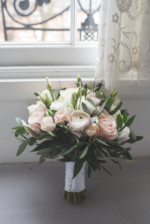 Bride Bridal Bouquet Pink Cream Rose Greenery Foliage 60 Hope Street Wedding Lisa Howard Photography