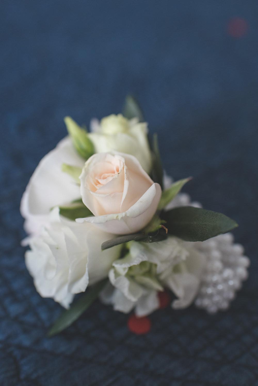 Buttonhole Pink Cream Rose 60 Hope Street Wedding Lisa Howard Photography