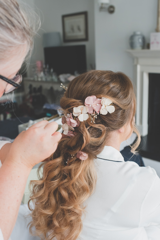 Bride Bridal Up Do Pink Cream Hair Flowers Pearls 60 Hope Street Wedding Lisa Howard Photography