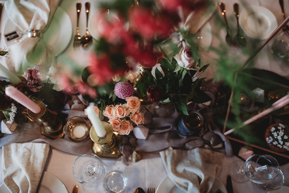 Table Tablescape Decor Fowers Silk Runner Candles Barn Wedding Ideas Thyme Lane Photography