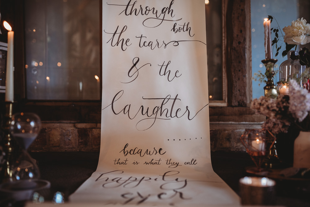 Banner Quote Backdrop Scroll Paper Calligraphy Ceremony Flowers Decor Barn Wedding Ideas Thyme Lane Photography