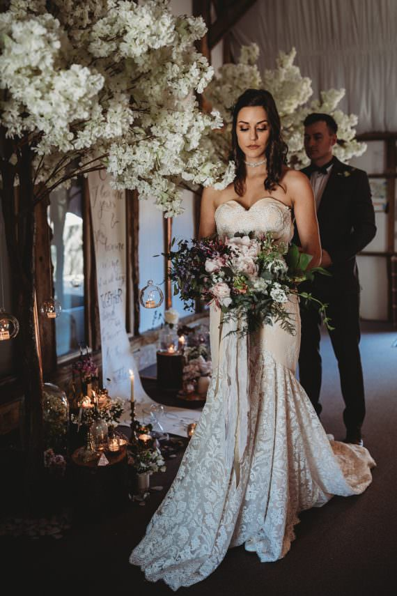Lace Dress Gown Bride Bridal Strapless Sweetheart Train Barn Wedding Ideas Thyme Lane Photography