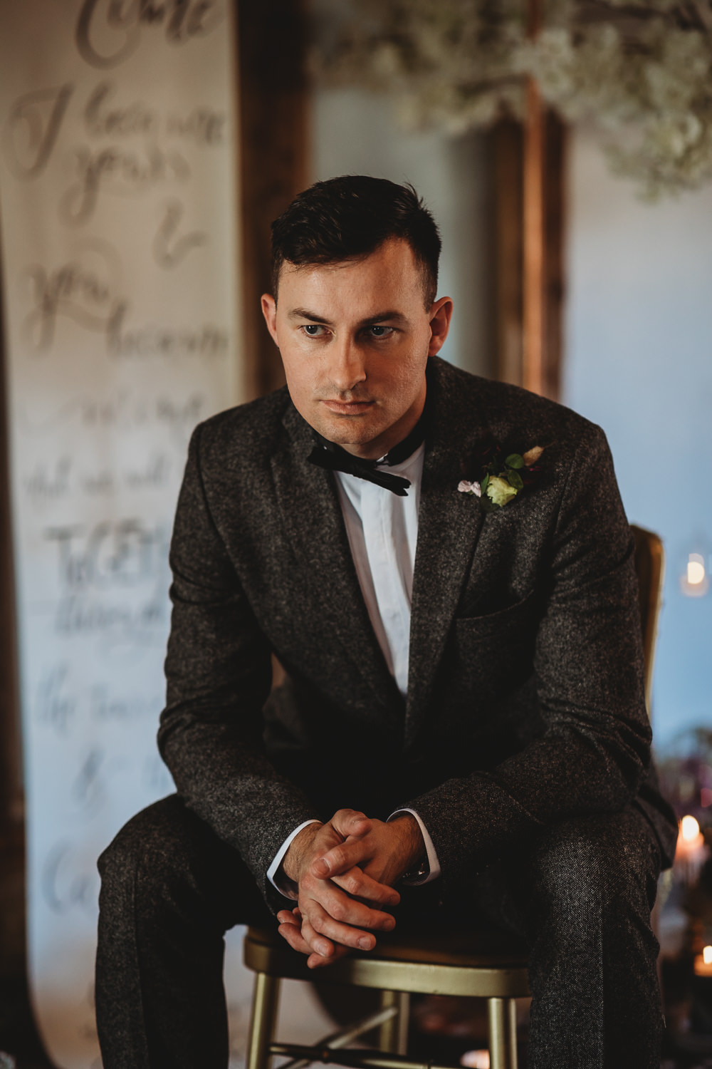 Groom Tweed Suit Bow Tie Barn Wedding Ideas Thyme Lane Photography