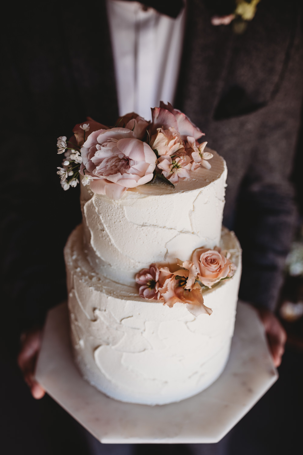 Rustic Buttercream Cake Pretty Pink Flowers Marble Stand Barn Wedding Ideas Thyme Lane Photography