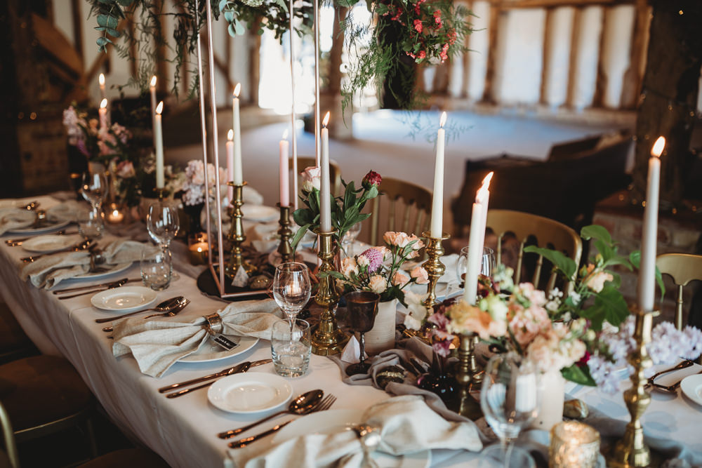 Table Tablescape Decor Fowers Silk Runner Candles Pastels Pinks Barn Wedding Ideas Thyme Lane Photography