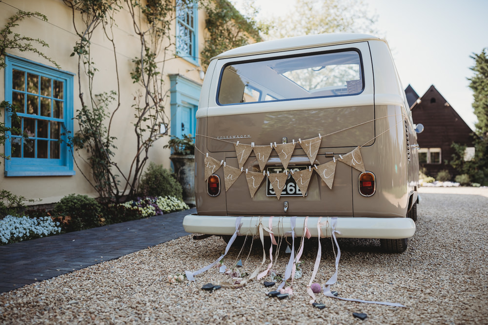 VW Camper Van Transport Just Married Decor Barn Wedding Ideas Thyme Lane Photography