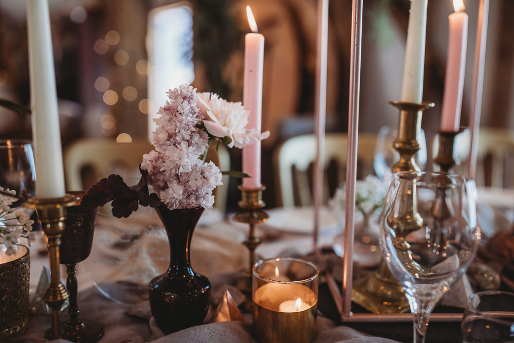 Table Tablescape Decor Fowers Silk Runner Candles Pink Barn Wedding Ideas Thyme Lane Photography