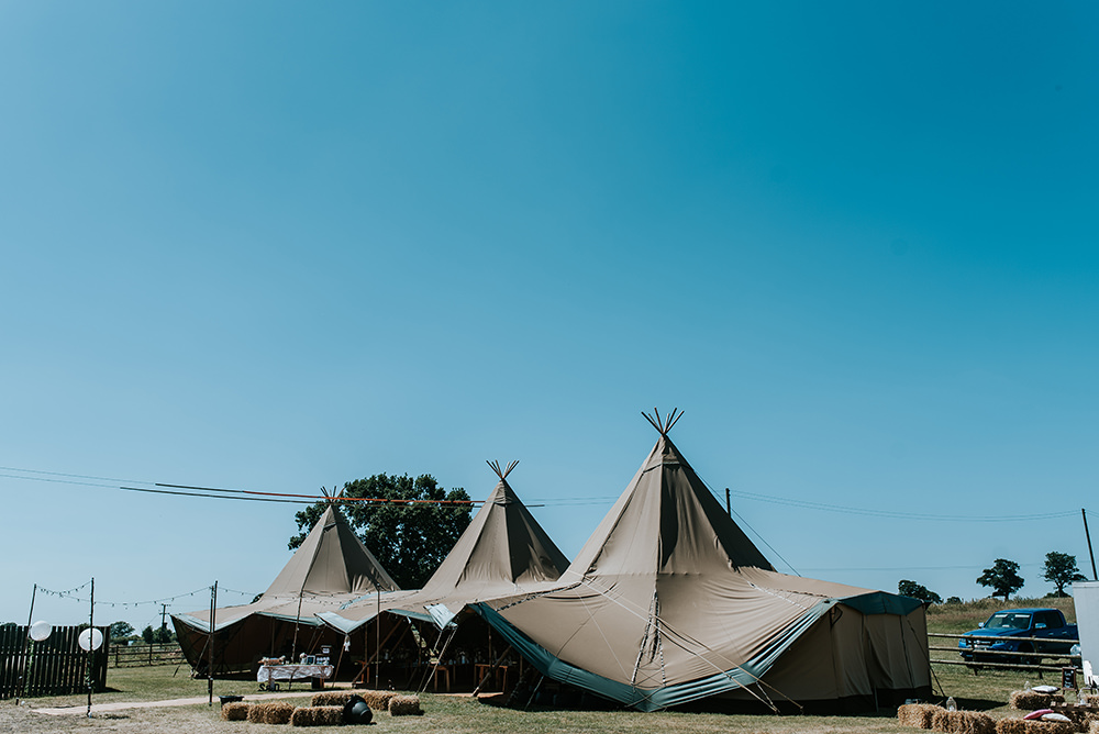 Tipi Outdoor Set Up Hay Bales Festoons Lights Blithfield Lakeside Barns Wedding Daniel McClane Photography