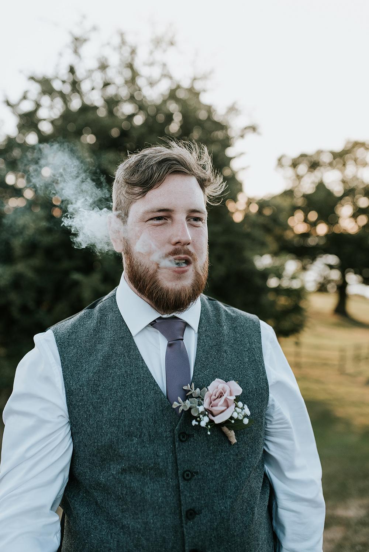 Groom Groomsmen Shot Tweed Waistcoat Trousers Grey Lilac Tie Buttonhole Blithfield Lakeside Barns Wedding Daniel McClane Photography